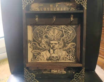 H. P. Lovecraft Wooden Key Rack