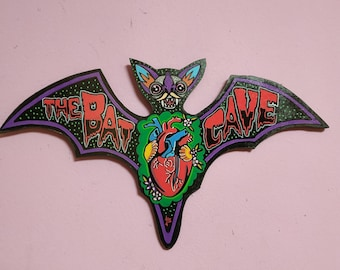 BATCAVE wooden bat Signal