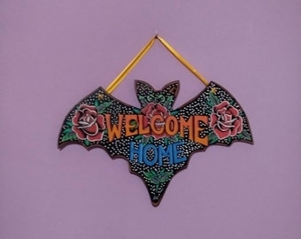 Welcome Home Roses wooden bat Signal BIG size