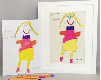 Children's drawings embroidered (mounted or framed). An embroidered version of your child's doodle painting sketch. Embroidery.