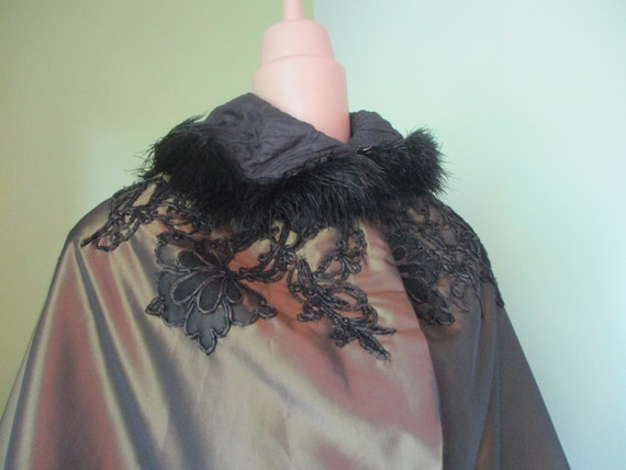 Antique Victorian Gold Cape with Ostrich feather c