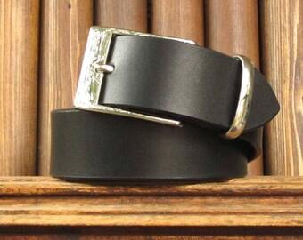 "1 1/2"" Wide Italian Leather Belt-Mens-Men-Handmade-Black-8 oz. thick-Size 32""-36""-Medium Mens Leather Belt-Solid Brass Buckle-Leather Belt"