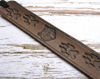 Leather Bookmark, Wolf Bookmark, Animal Bookmark, Wolf Tracks, Wolves, Nature, Books, Book Accessories, Wilderness Book Mark, Kids Bookmarks
