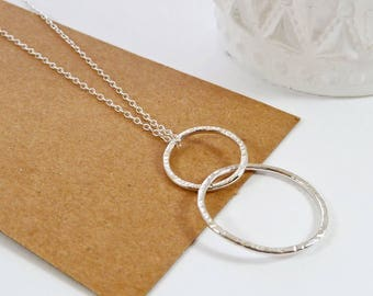 Long Silver Necklace, Eternity Necklace, Layering, Friendship Necklace, Sterling Silver, Double Circle, Modern, Interlocking Circle Necklace
