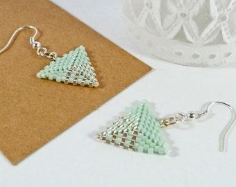 Green Triangle Earrings, Geometric Dangle Earrings, Friend Jewellery Gift, Women's Spring Gift, Silver, Pale Green, Simple Everyday Earrings
