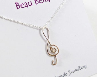 Silver Music Necklace, Treble Clef Necklace, Music Lover Gift, Musician Gift, Singer Gift, Sterling Silver, Delicate, Music Note Necklace