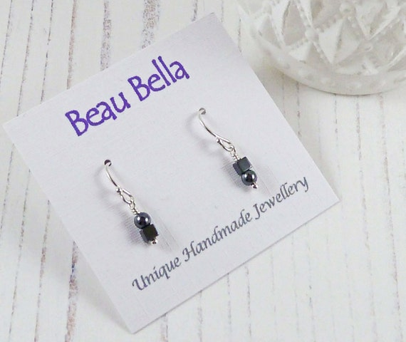 Hematite Triangles Sterling Silver Earrings /& Silver Plated Hematite Cube Beads