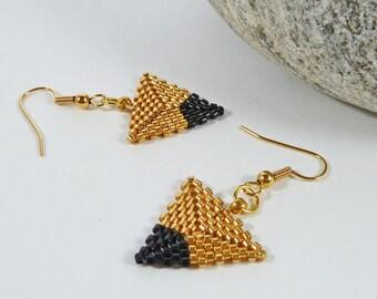 Gold Seed Bead Triangle Earrings. Minimalist Geometric Earrings. Girlfriend Gift. For Her. Gold & Black Dipped Triangle. On Trend Earrings