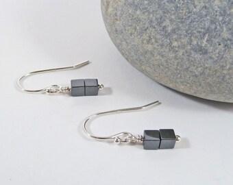 Hematite Earrings, Black Gemstone, Cube Earrings, Sterling Silver, Gift for Her, Tiny, Minimal, Metallic Beads, Modern, Square Bead Earrings