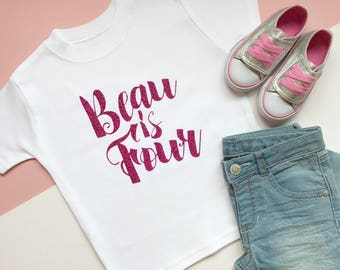 Personalised Birthday T Shirt 4th Personalized 4 Year Old Script Four