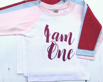READY TO SHIP Pink Raglan Baby Girl 1st Birthday Outfit