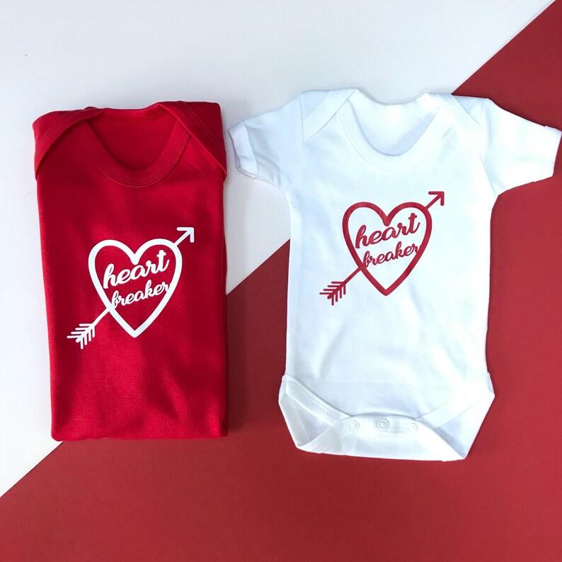 Babys Heart Breaker Romper Baby Valentine/'s Day Outfit Baby Valentines Outfit Boy Valentines Day Baby
