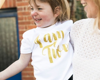 I Am Two Second Birthday Outfit Girl | Girls 2nd Birthday Outfits | Toddler Birthday Outfit | Script I am Two