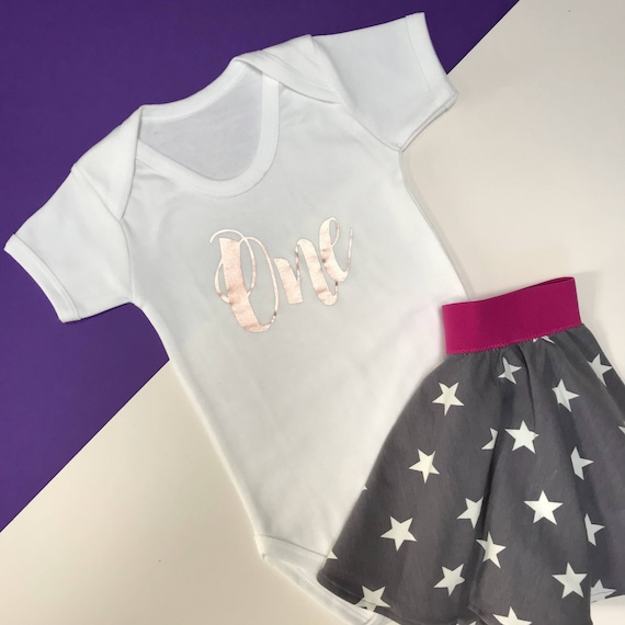 Gold Glitter Baby Girl 1st Birthday Outfit One Year Old