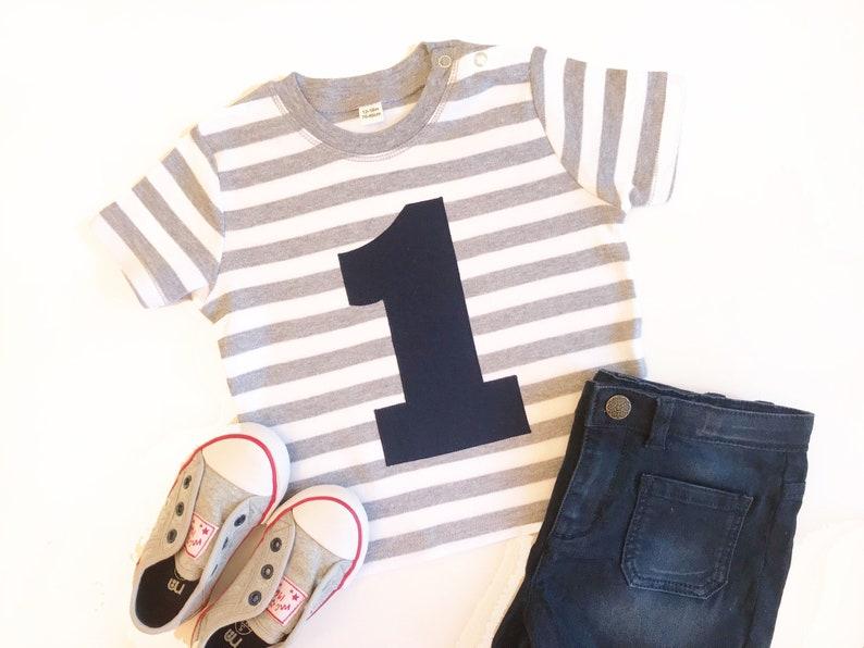 Grey Striped 1st Birthday Shirt Baby Boy First