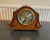 Vintage 1930s Westminster Chiming Mantle Clock in Engraved Oak Arch Shaped Case