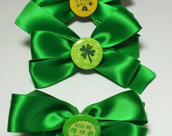Large Green Bow Barrettes with Buttons