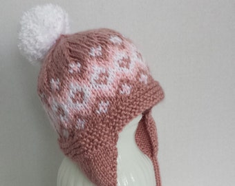 92e5002d860 Baby s Diamond Pattern Ear Flap Hat in Shades of Pink and White - Size 6 to  12 Months