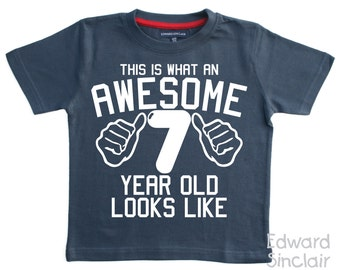 This Is What An Awesome 7 Year Old Looks Like Boys 7th Birthday T Shirt