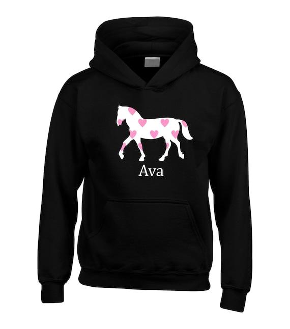 Cavallo Bambini Etsy Cappuccio Equestre Personalizzati Felpa Con awxqnxtS