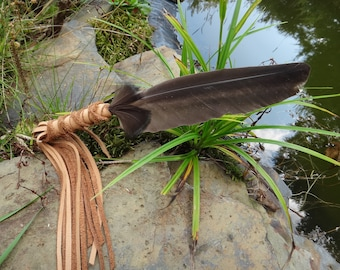 Smudge feather fan. Ceremony Native American wild turkey Feather and leather. Sacred Feather spiritual smudging feather, Shaman accessory