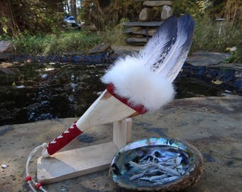 Smudge feather fan. Ceremony Native American Goose Feather. Sacred spiritual smudging feather. Sage purification. Cedar Wood handle