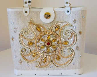 049c263be81 Boho Spiral Purse Vintage Bohemian Gypsy Hippie Sun Goddess ~ Sequins Beads  Rhinestones DAZZLING Celestial Sun Beach Tote Canvas Wood WOW!