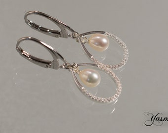 Pearl drops on rhodium-plated 925 kitchen