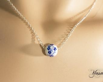 Ceramic - blue floret on Sterling