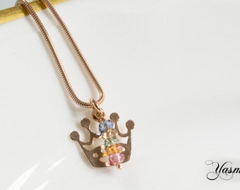Crown rose gold plated with tourmaline