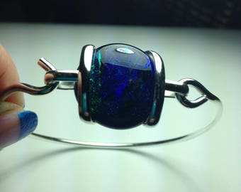 Outstanding Sterling Silver Dichroic Glass Bracelet