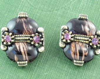 item 180 Vintage Clip Earrings Purple Plastic Marbled Chunky Rocks 50s