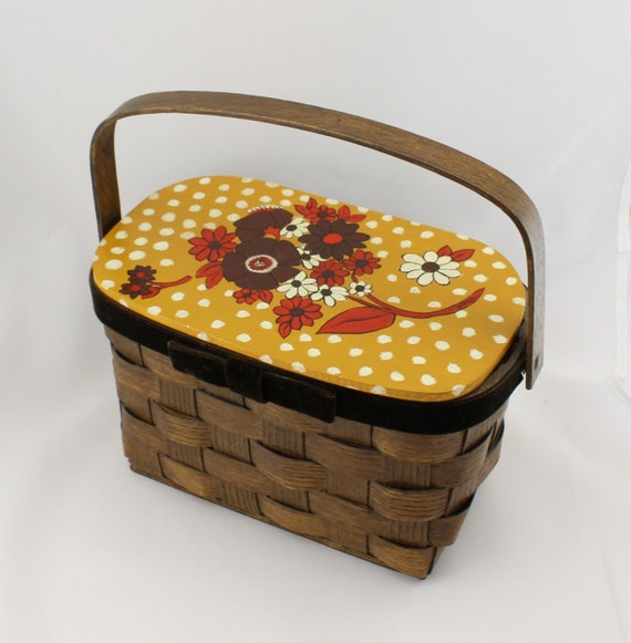 Vintage 70s Hand Painted Woven Wood Basket Box Pur