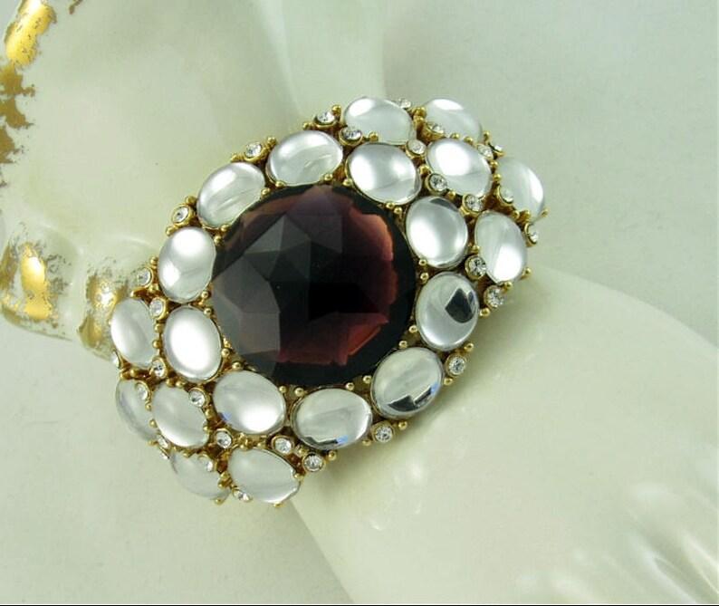 Retro Vintage SCAASI Purple Rhinestone Mirror Back Hinge Cuff Bracelet