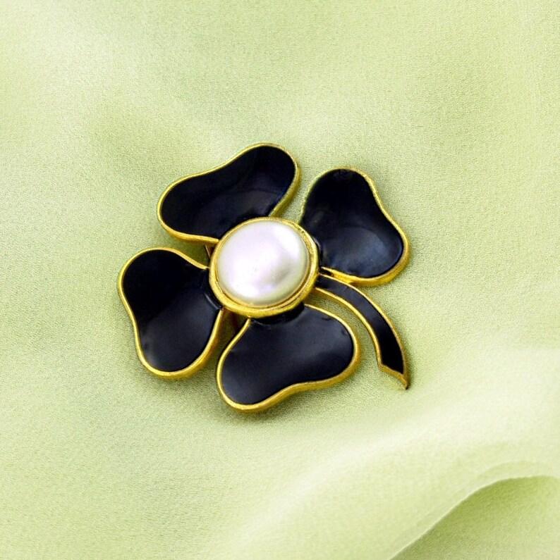 9af0dd8917c Vintage YSL Black Enameled Four Leaf Clover Pin | Etsy