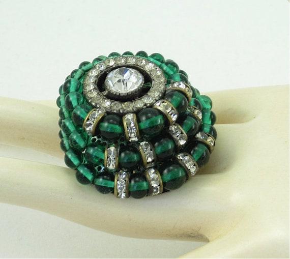 French Art Deco Emerald Green Rhinestone Rhondelle Layered