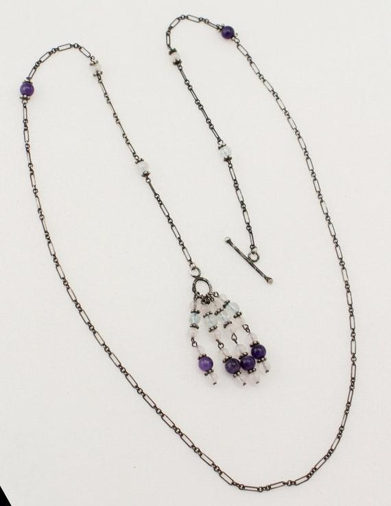 Vintage Fantasy Silver Jeweled Amethyst /& Rock Crystal Wand