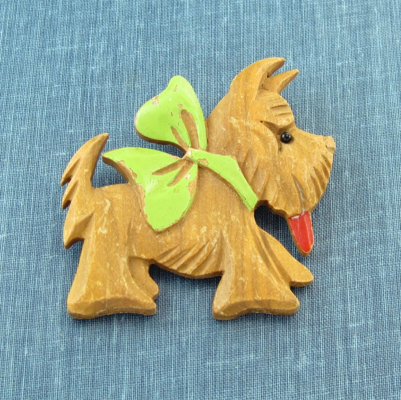 1930 40s Large Carved Wood Scotty Dog Pin