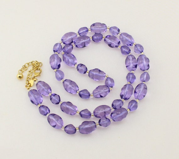 JOAN RIVERS Lavender Rock Candy Glass Bead Necklac