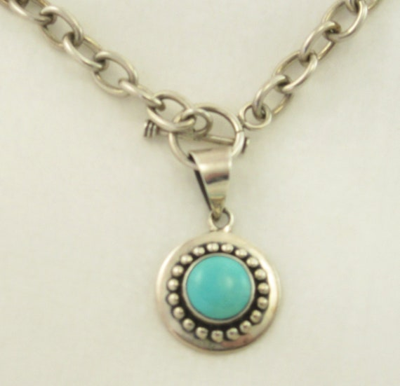 Mexico 925 Silver Belcher Link Chain Turquoise Pen