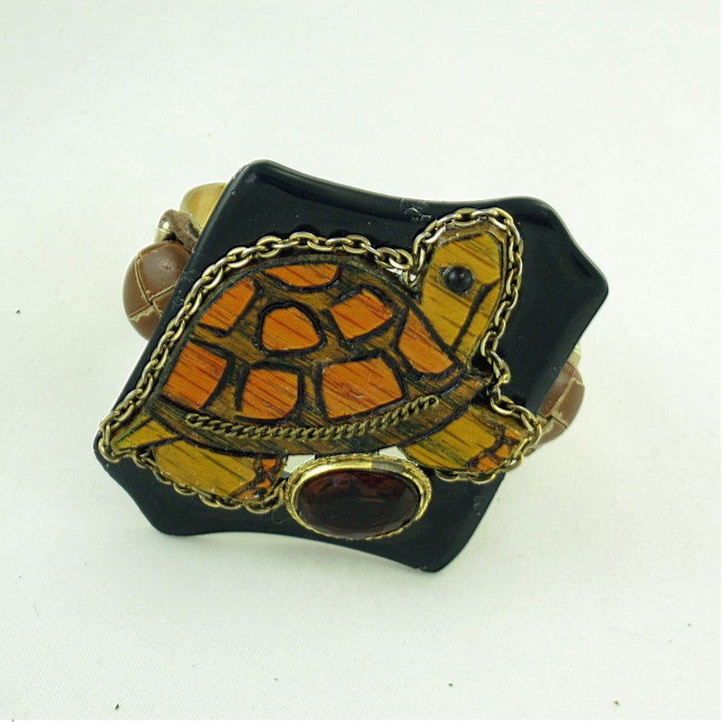 Carved Wood Turtle Assemblage Wearable Art Cuff Bracelet image 0
