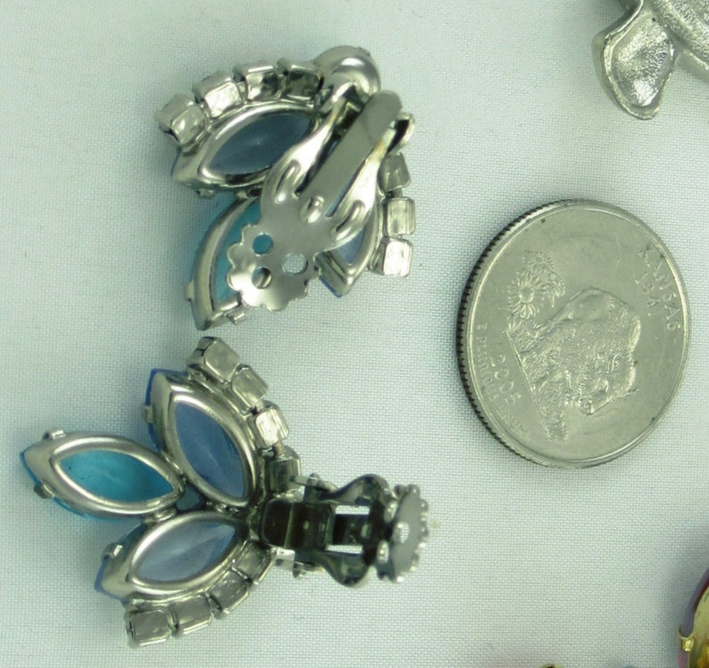 Vintage Tri Color Blue Rhinestone Sparkly Earrings; Juliana Weiss Collaboration