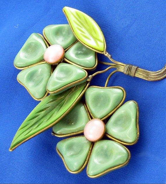 Plastic Poured Glass Style Flower Bouquet Brooch; Wire Caged Petal Corsage Faux French Gripoix