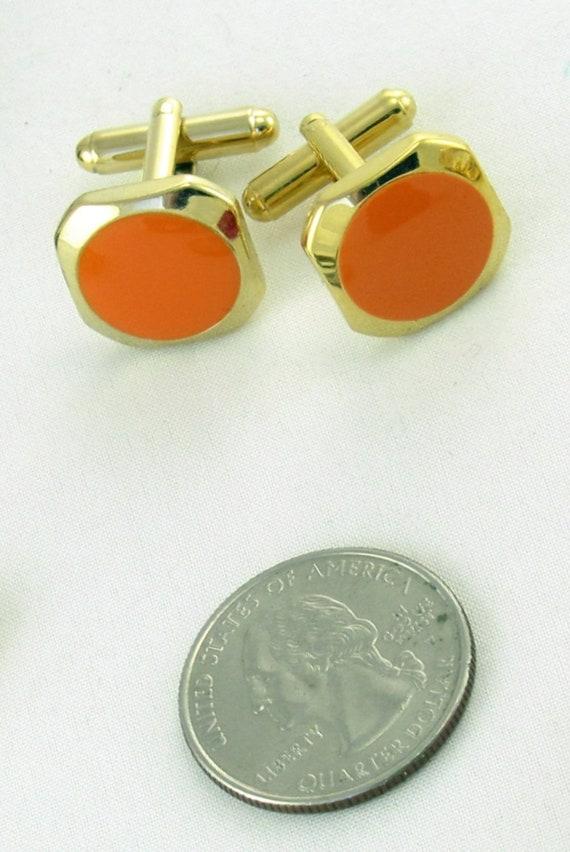 Vintage 1970/'s Large Orange Ball Gold Mesh Cuff Links Mod Dapper