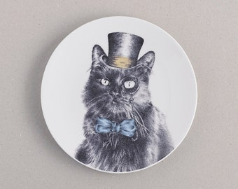 Cat in Top Hat and Monocle Dessert Plate: fine bone china gift for housewarming, cat lovers & tea party hosts! UK FREE shipping!