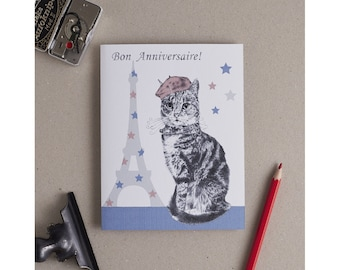 Birthday Greetings From French Cat in Beret: handmade greetings card & envelope, with optional message inside and Bon Anniversaire Caption.