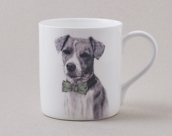 Dog in a Bow Tie Mug: fine bone china tea mug with handsome jack russell in a bow tie illustration. Great birthday gift for a dapper gent.