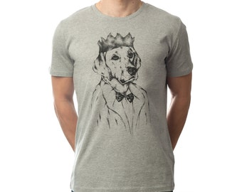 """Men's T-Shirt Hand Printed With Labrador Dog """"Grumps"""" Character, Organic Cotton. Perfect Gift For Pet Lovers And Dog Owners!"""
