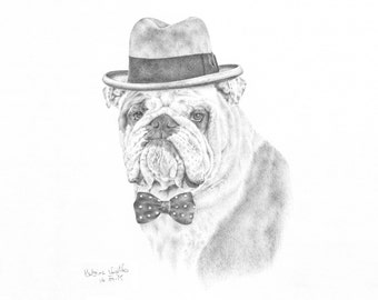 Pet Portrait. Custom hand-drawn original pencil drawing of your pet! Can be personalised with costume. A4 size animal illustration on paper.