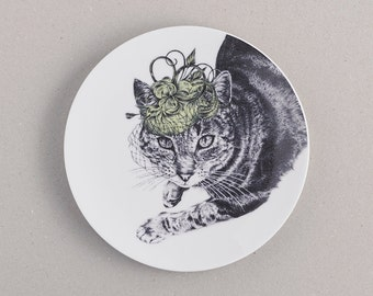 Cat in a Wedding Hat Side Plate: fine bone china side plate with stylish cat print. UK FREE shipping! Wonderful wedding or cat lover gift!